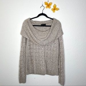 The Limited Tan/Cream Cowl Neck Sweater